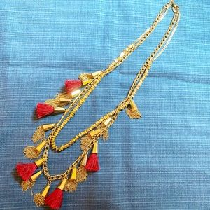 Aqua by Bloomingdales Tassel Necklace Gold Red